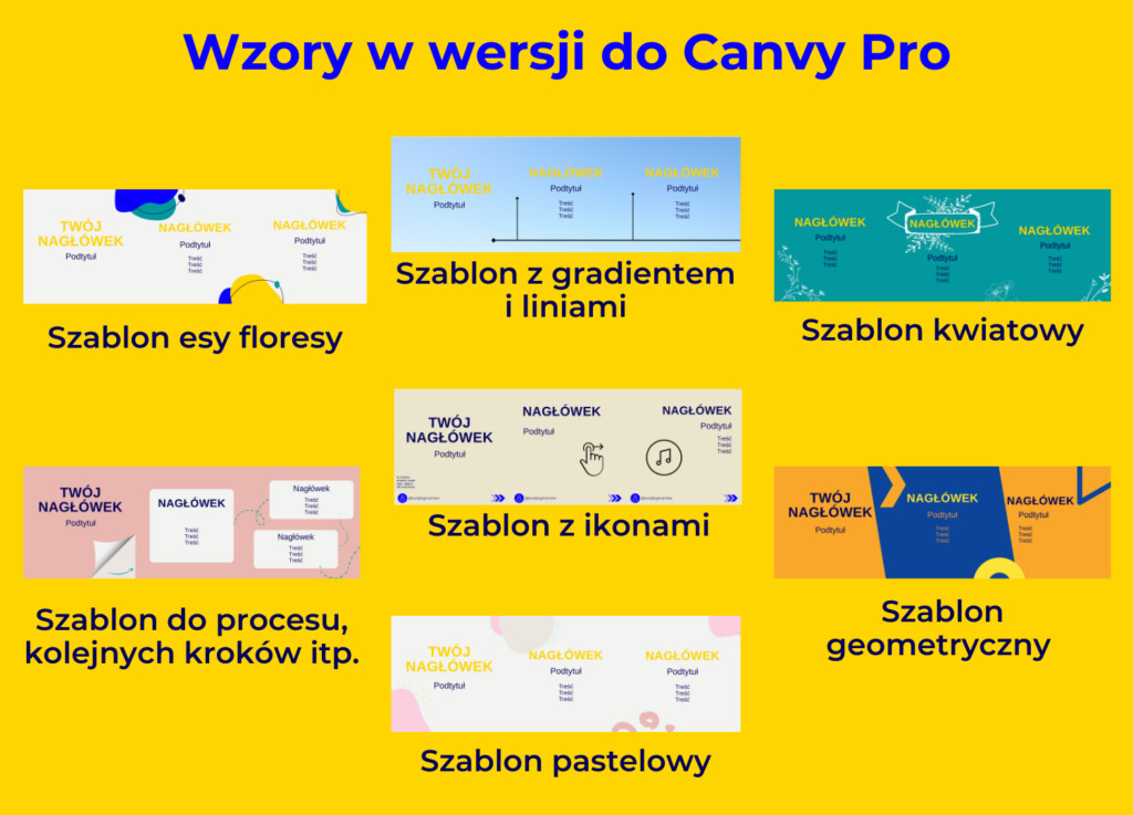 wzory szablonó do karuzeli Canva Pro